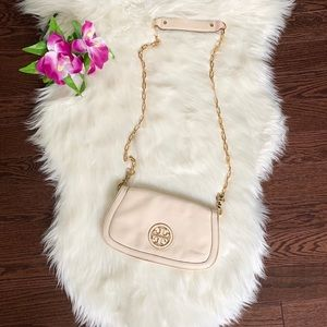 Tory Burch Cream Crossbody Bag with Gold Chain